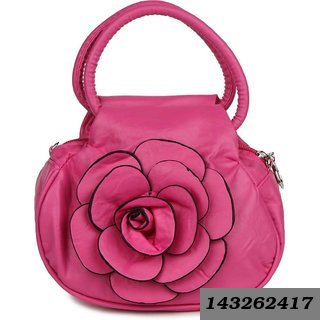 Pink Plain Flower Printed Potli Bag