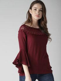 Raabtaa Fashion Casual Plain Maroon Rayon Basic Full Sleeves Top For Women