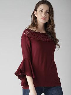 Raabtaa Fashion Casual Plain Maroon Rayon Boat Neck Basic Full Sleeves Top For Women