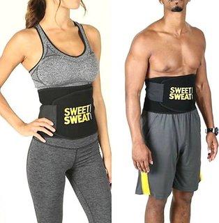 Unisex Sweat Waist Trimmer Fat Burner Belly Tummy Yoga Wrap Black Exercise Body Slim look Belt Free Size SWEAT BELT) CODE-SWEATG393