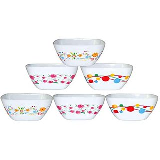 PRINTED SQUARE KATORI 6 PCS PLASTIC BOWL SET