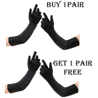 Winter Gloves for Girls Long size 1 Pair 24 inch Black Buy 1 Get 1 free