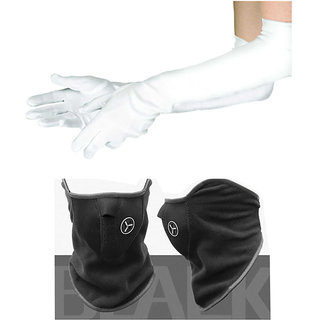 Winter Gloves for Girls Long size 1 Pair 24 inch White + Free 1 Black NPRN Antipollution Mask