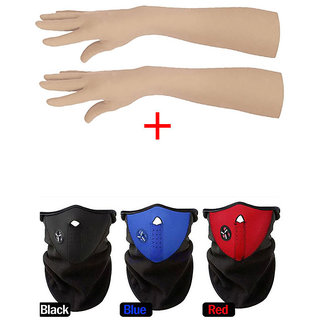 Winter Gloves for Girls Long size 1 Pair 24 inch Skin + Free 3 Black-Red-Blue NPRN Antipollution Mask