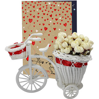 LOF Valentine's Flower Gift Box For Girlfriend and Wife Gift For Valentine Day||Tricycle Flower Basket Piones Rose Day Gift ||Teddy Day Gift Set 0020