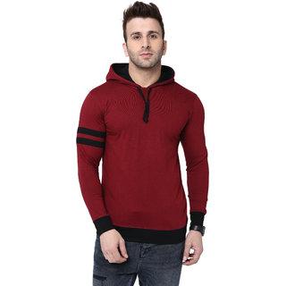 Bi Fashion Hooded Maroon Men's Designer T-shirt