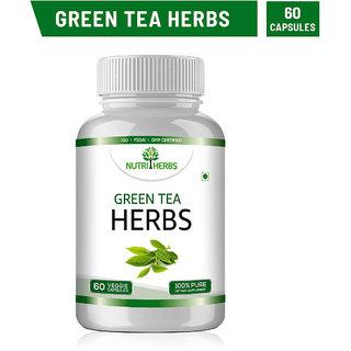 Nutriherbs Green Tea - 60 Capsules (Pack of 1 Bottle)