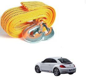 Auto Addict Heavy Duty Car Nylon Towing Rope 3000Kgs Pull Capacity (Yellow, 3.5 m) For Volkswagen Beetle