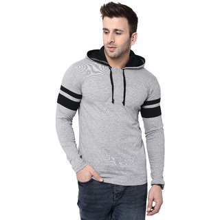Bi Fashion Round Neck Contrast Hooded Grey Full Men Designer T-shirt