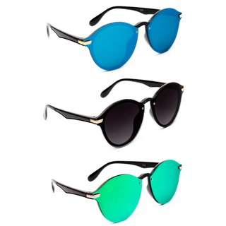 0fbb7477b2ed TheWhoop Combo UV Protected Uni-lens Mercury Round Sunglasses Goggles For  Men