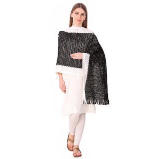 Bravezi  Black Woolen Winter  Woven  Scarf and stoles for Women