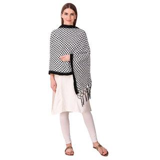 Bravezi Black Woolen Winter Woven Scraf and stoles for Women