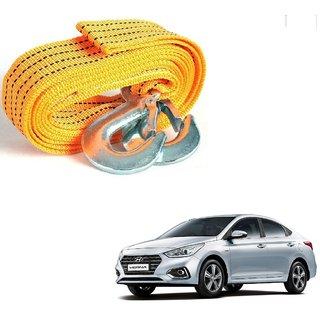 Auto Addict Heavy Duty Car Nylon Towing Rope 3000Kgs Pull Capacity (Yellow  3.5 m) For Hyundai Verna Nextgen 2017