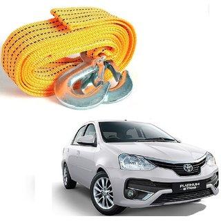 Auto Addict Heavy Duty Car Nylon Towing Rope 3000Kgs Pull Capacity (Yellow  3.5 m) For Toyota Etios Platinum