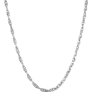 AAA Quality High End Fashion Real Silver Polish Good Quality Brass Metal Thin Entangled Oval Chain in 24 Inches