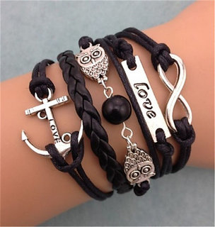 NEW Fashion Leather Cute Infinity Charm Bracelet Silver lots Style Pick