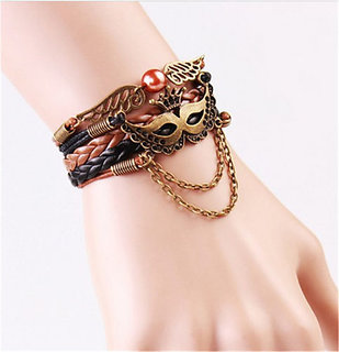 Fashion Leather Cute Infinity Charm Bracelet Silver lots Style Pick-NO HANGING CHAIN