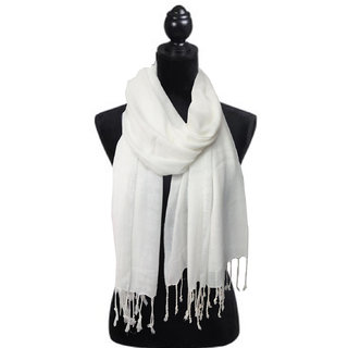 Rayon White Stole for Women Girls GLSBP-560