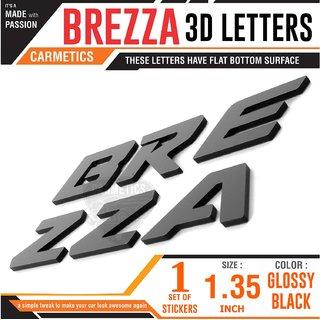 CarMetics BREZZA 3D Letters Stickers Logo Emblem Bonnet Stickers Accessories Free Chrome Dsel Stickers for Maruti Suzu