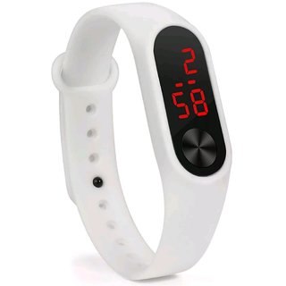 FARP White Digital Led Band Type Quartz Watch For Unisex