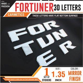 CarMetics FORTUNER 3d letters 3d stickers logo emblem alphabets decals bonnet letters graphics accessories Mirror Finish