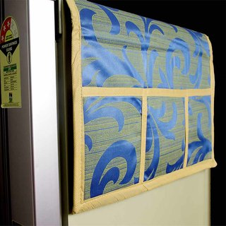 VAA Cloth Fridge Top Cover with 6 Utility Pockets - Blue Color