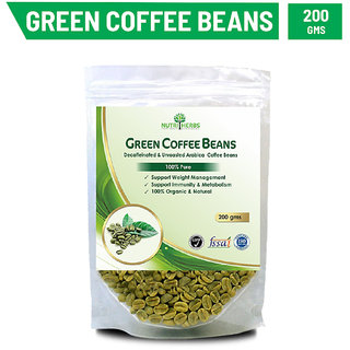 Nutriherbs Green Coffee Beans Decaffeinated  Unroasted Arabica Coffee Beans Herbal Supplement For Weight Management Acts As An Antioxidant - 200 Gms