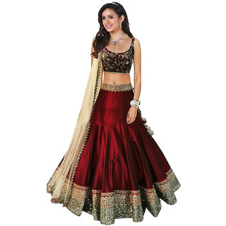 Florence Red Silk Embroidered Lehenga Choli For Women Semi Stitched