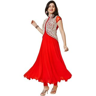V KARAN Women's Embroidered Semi Stitched Suit