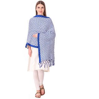 Bravezi Blue Woolen Winter  Woven  Scarf and stoles for Women