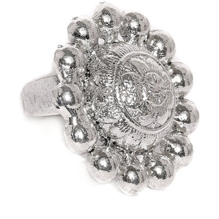 Zaveri Pearls Antique Silver Tone Adjustable Finger Ring-ZPFK8082