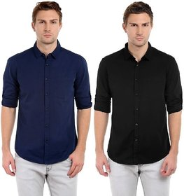 29K Men's Solid Slim Fit Cotton Casual Shirt (Pack Of 2)