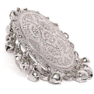 Zaveri Pearls Antique Silver Tone Dangling Ghungroo Adjustable Finger Ring-ZPFK8087