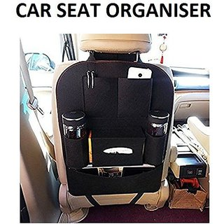 gazec me  Multi Pocket Black Organizer for Car Seat Back. Multi-use to hold ipad, bottle, tissue, toy etc. - 1 Piece