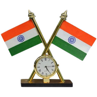 Car Dashboard Watch Indian Flag with Clock for Maruti Ignis