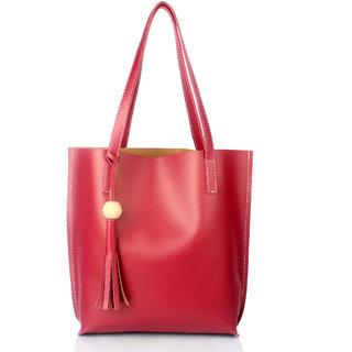 Mammon Women's Handbag (Plain-maroon,35x35 Cm)