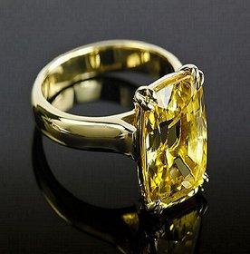 5.25 ratti Natural Pukhraj Stone Igl Certified Yellow sapphire  Gold Plated Ring Jaipur Gemstone