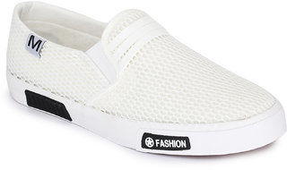 REFOAM Men's White Mesh Casual Shoes