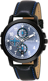 Evelyn Casual Blue dial  Black Leather Strap Analog Wrist Watch for Mens  Boys Eve-763