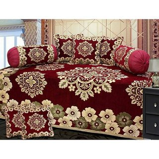 Shiv kirpa Velvet Diwan Set Pack Of 8