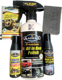 Amwax All In One Polish 250 Ml Wash and Wax 50Ml Scratch Remover 50Ml 2 Pouch Dashboard 10 Ml 1 Sponge For Car and Bike