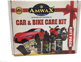 Amwax Car and Bike Care Kit-Tyre Shiner, All in one Polish,Scratch Remover,Wash n Wax,Dashboard Polish,Hand Gloves,Spong