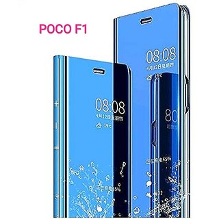 RGW BACK  CASE COVER FOR REDMI POCO F-1  MIRROR S-VIEW STAND FILP COVER BLUE