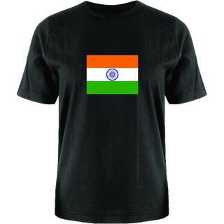 India Black Cotton Round Neck Half Sleeve