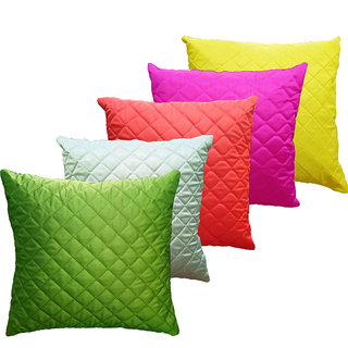 India Furnish Dupion Silk Quilt Design 5 Pieces Cushion Covers Set - 16x 16, Multicolor