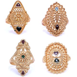 Amaya Treditional Ethnic Mix Combo of 4 Gold Plated Rings For Classic Women Girls