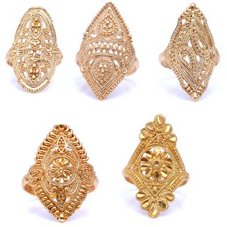 Jasmine Treditional Ethnic Mix Combo of 5 Gold Plated Rings For Classic Women Girls