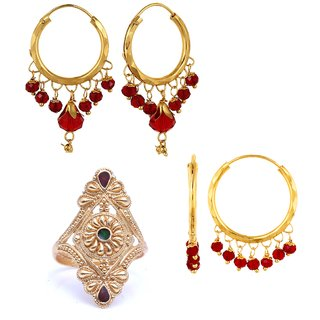 Raveena Treditional Ethnic Mix Combo of 2 Pair Earrings  1 Golden Ring For Classic Women Girls