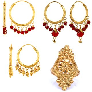 Isha Treditional Ethnic Mix Combo of 3 Pair Earring  1 Ring For Classic Women Girls