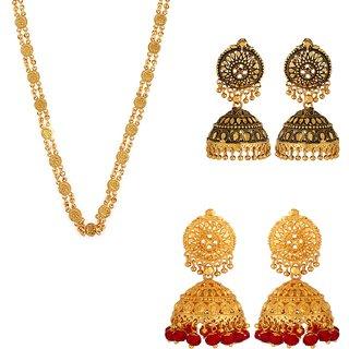 Arya Treditional Ethnic Mix Combo of 1 Ginni Chain  2 Pair Jhumki Earrings For Classic Women Girls